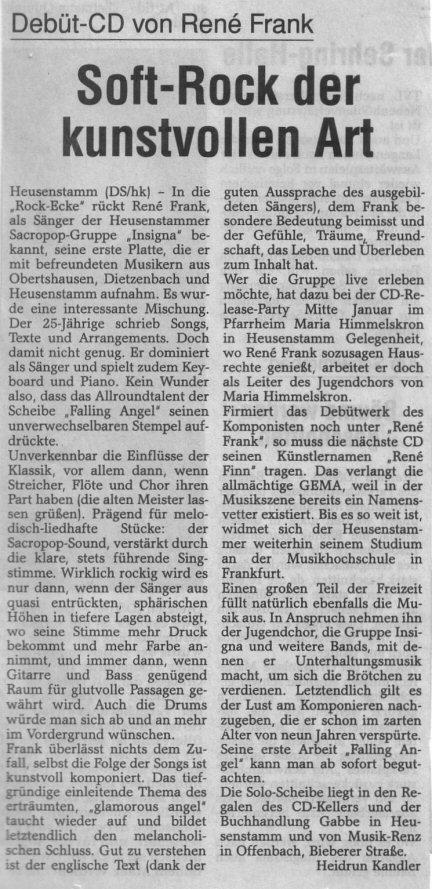 Pressebericht zur falling angel cd for Spiegel wochenzeitung